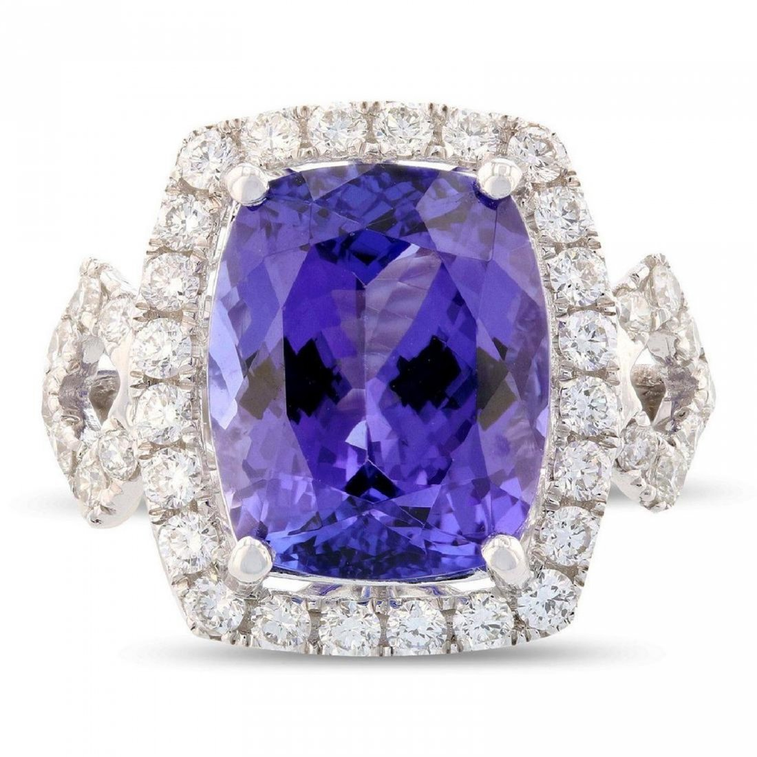 Platinum 6.93ct Tanzanite 0.97ctw Diamond Ring, GIA