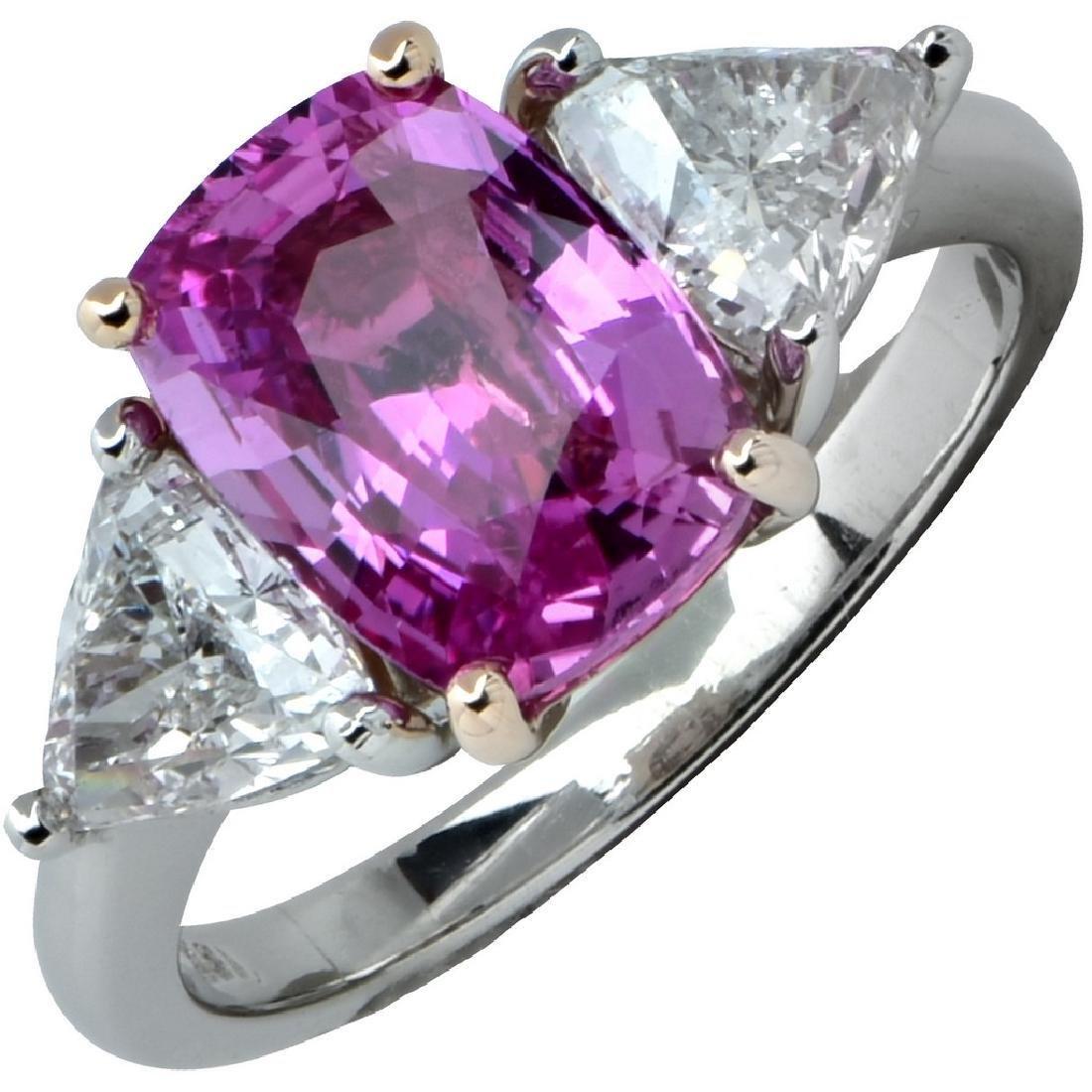 Platinum GIA 2.50ct Burma Pink Sapphire Diamond Ring
