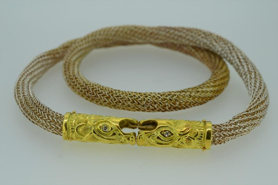 18k Yellow Gold Sterling Silver Mesh Serpent Necklace