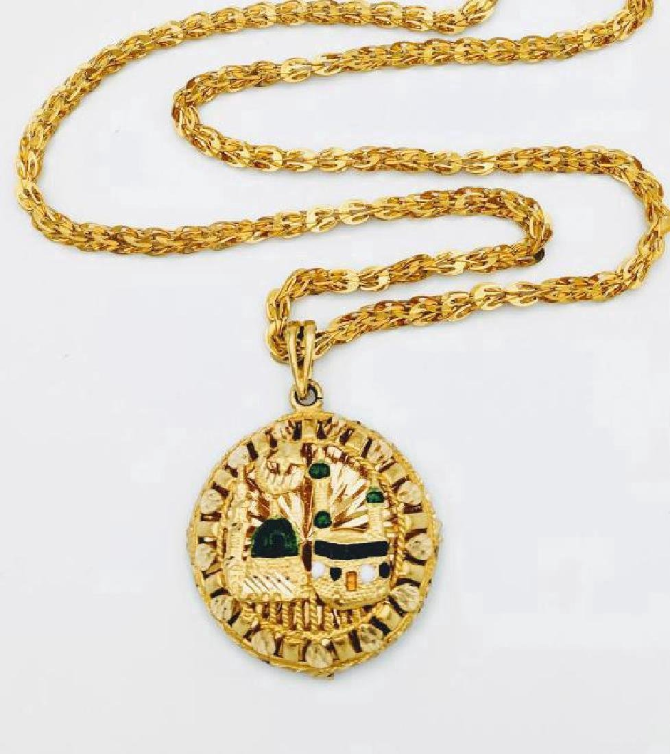 21K Gold Acrylic Islamic Mosque Design Necklace