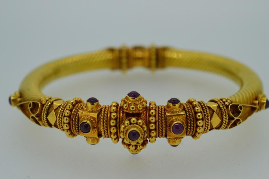 22K Yellow Gold Ruby Bengali Inspired Bangle Bracelet