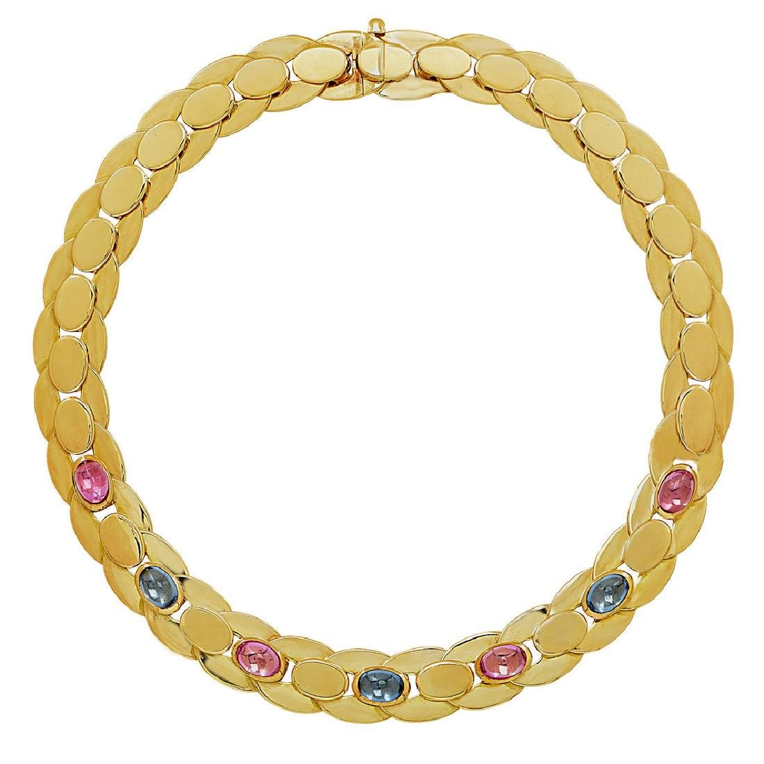 Marina B. Yellow Gold Sapphire Necklace, 25ctw