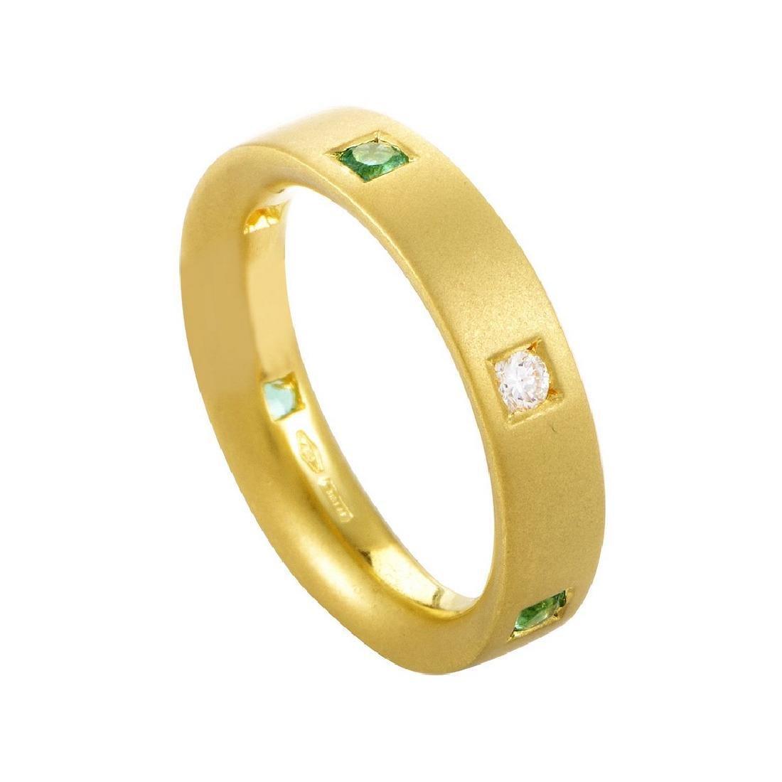 Damiani 18K Yellow Gold Diamond & Emerald Band Ring