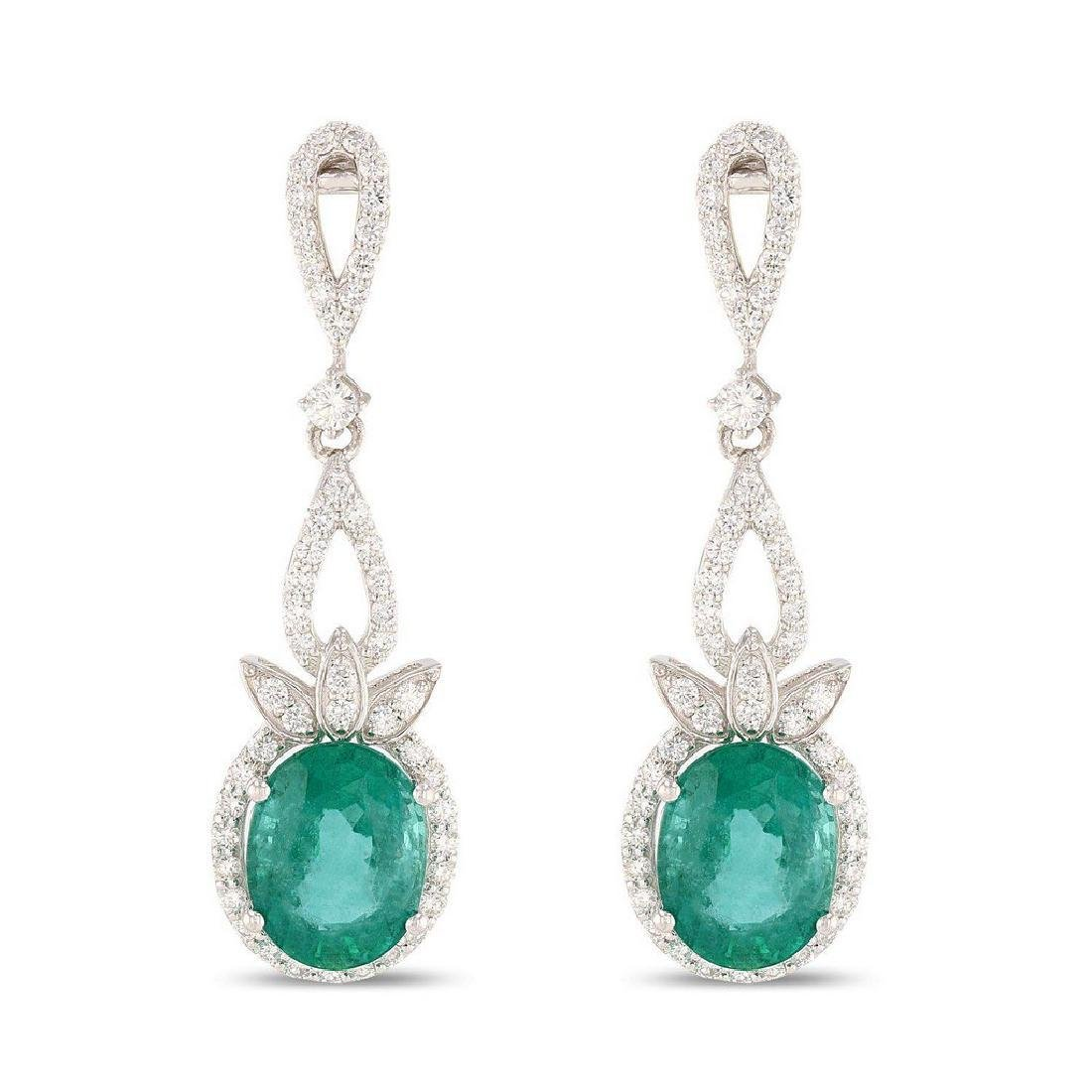 Platinum 8.60ctw Emerald 1.57ctw Diamond Earrings