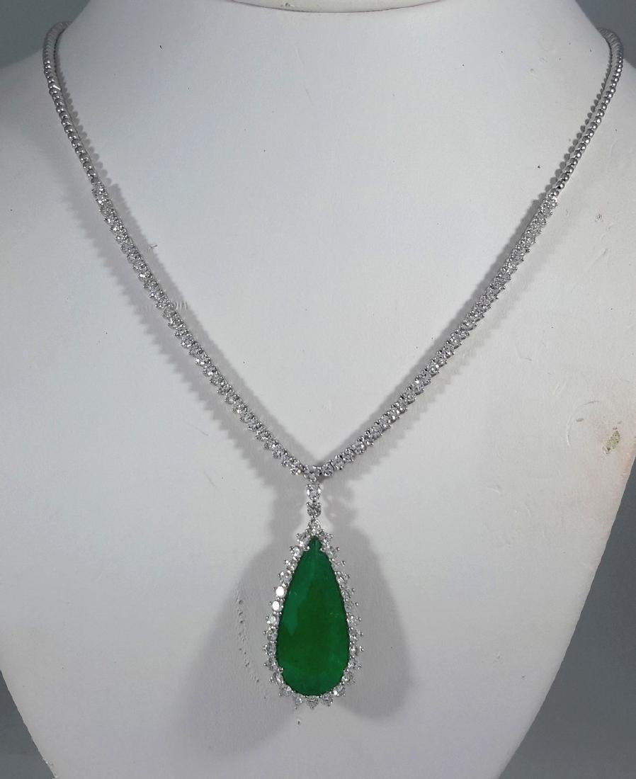 18K White Gold Emerald & Diamond Necklace, 13.43ct