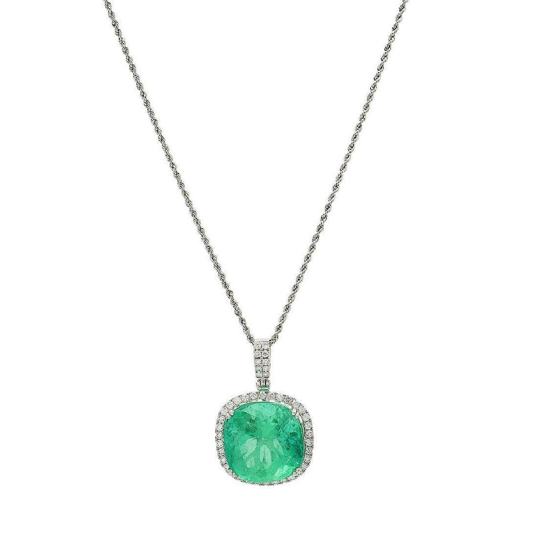 Platinum 24.81ct Emerald 1.05ctw Diamond Necklace GIA