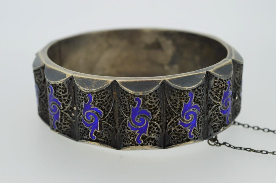 Antique Russian Silver Blue Cloisonne Enamel Bracelet