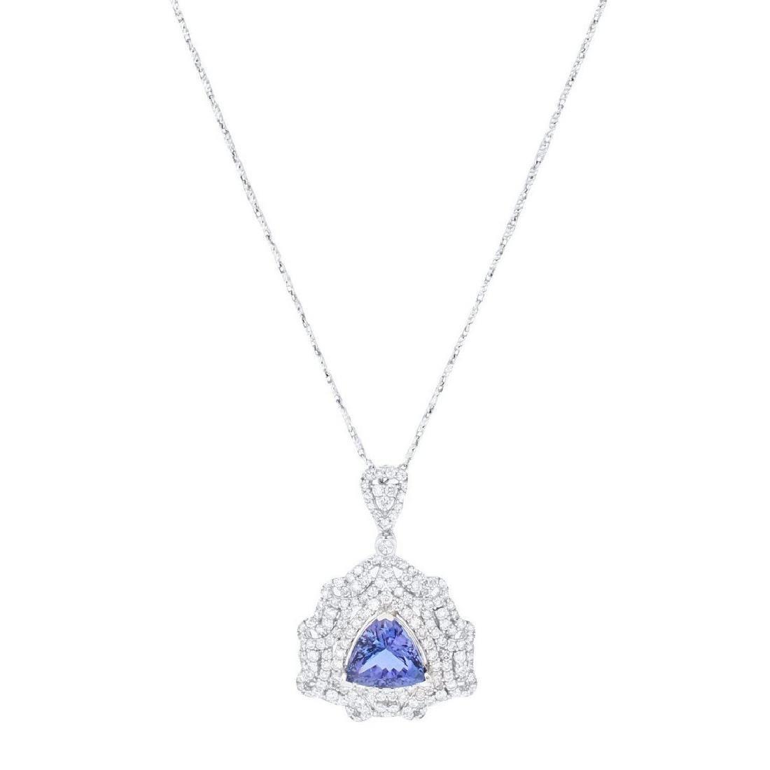 14K White Gold 5.07ct Tanzanite 2.30ct Diamond Necklace