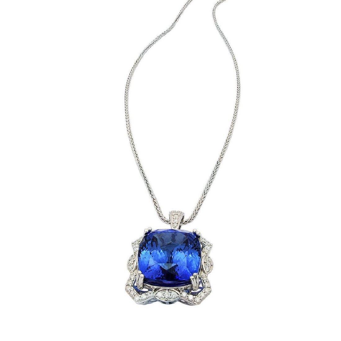 Platinum 23.97ct Tanzanite 0.54ctw Diamond Necklace