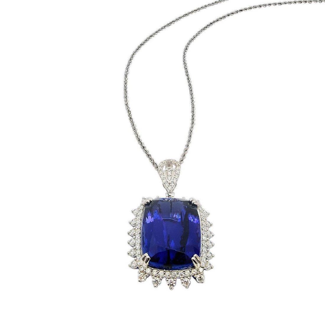 Platinum 38.93ct Tanzanite 1.94ctw Diamond Necklace