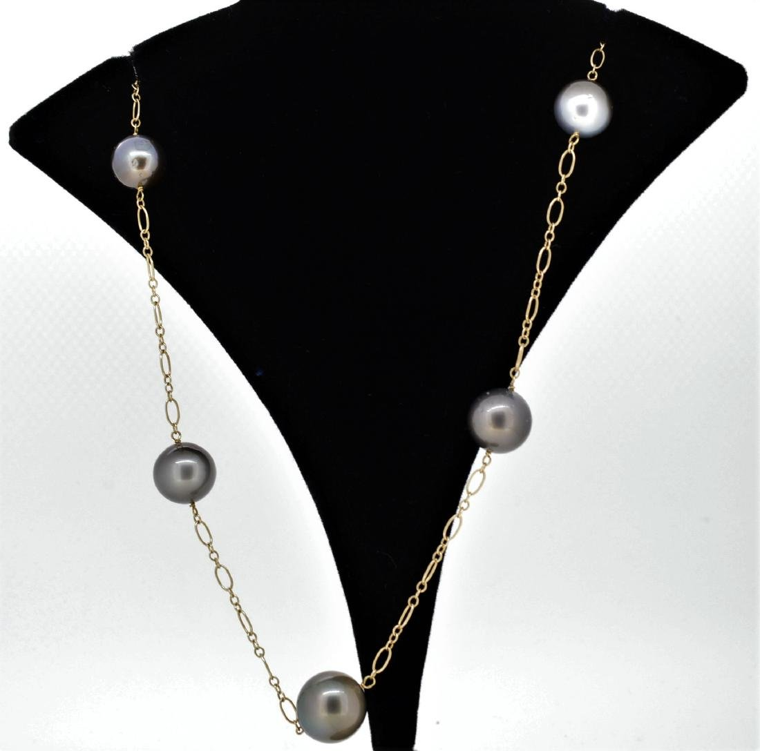 14K Gold Floating Natural Tahitian Pearl Necklace