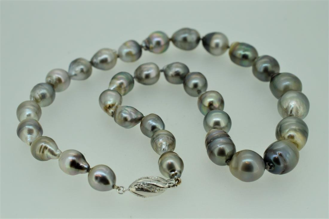 14K White Gold South Sea Grey Tahitian Pearl Necklace