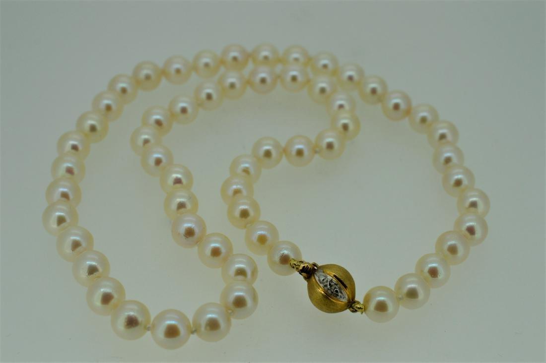 14K Yellow Gold Lustrous Akoya Pearl Diamond Necklace