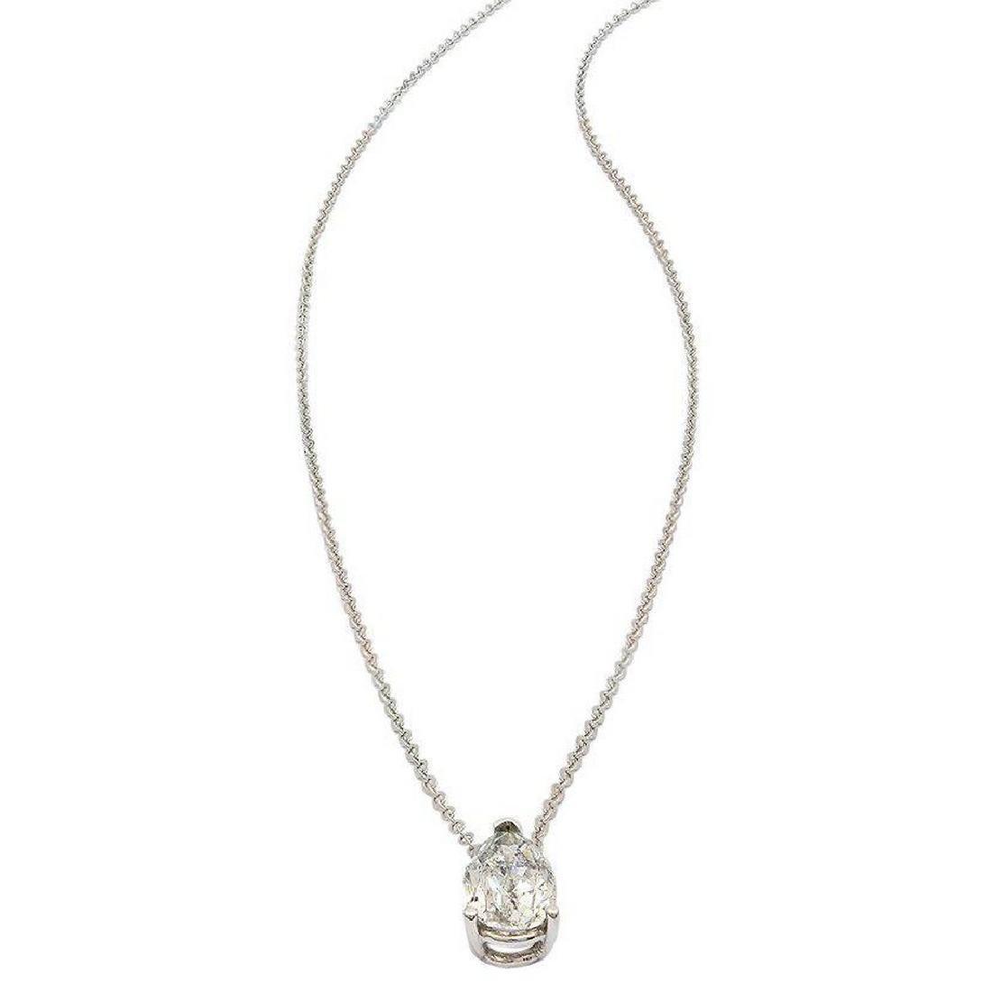 14K Gold 0.94ct Diamond Solitaire Pendant Necklace