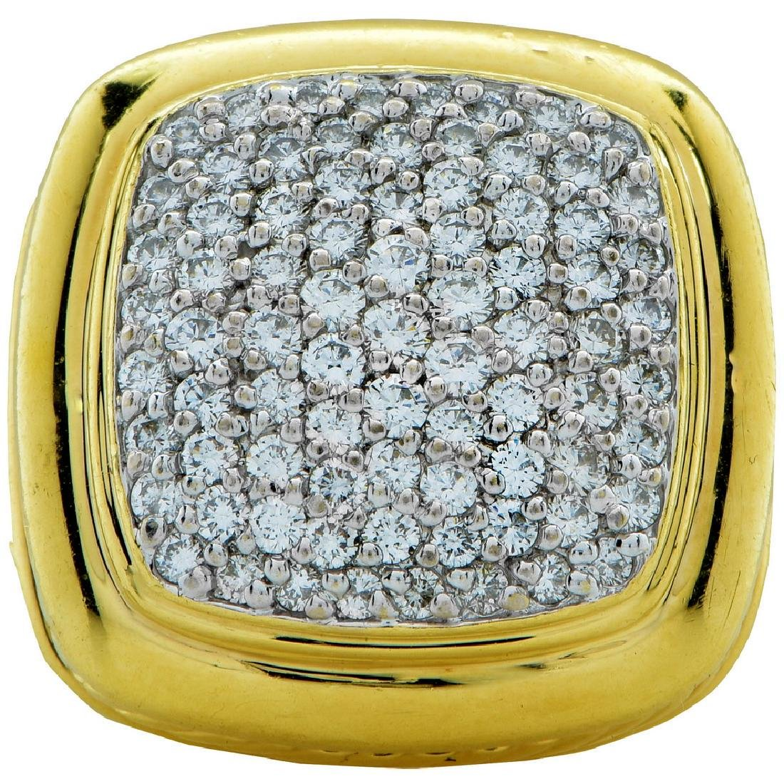 David Yurman Pave Diamond 18 Karat Yellow Gold Ring