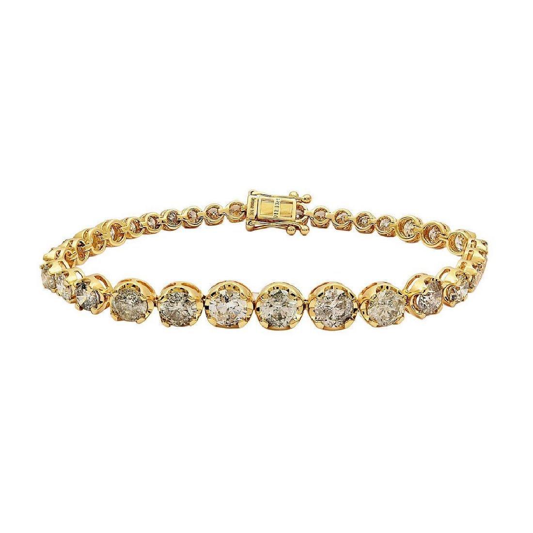 14K Yellow Gold 12.12ctw Diamond Tennis Bracelet