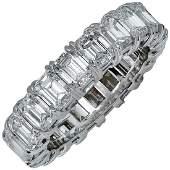 Platinum 6.43ct Emerald Cut Diamond Eternity Band Ring