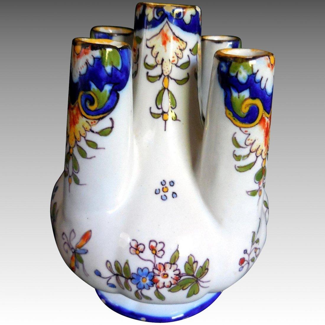 Antique Rouen Fourmaintraux Faience Finger Vase