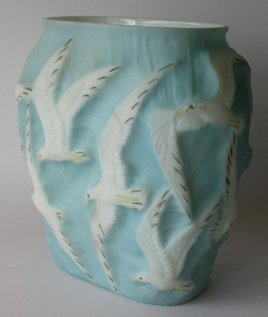 Pheonix glass vase with seagulls.