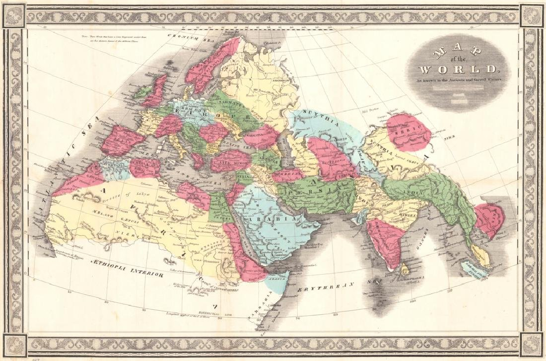 Antique Map of the Ancient World, 1850