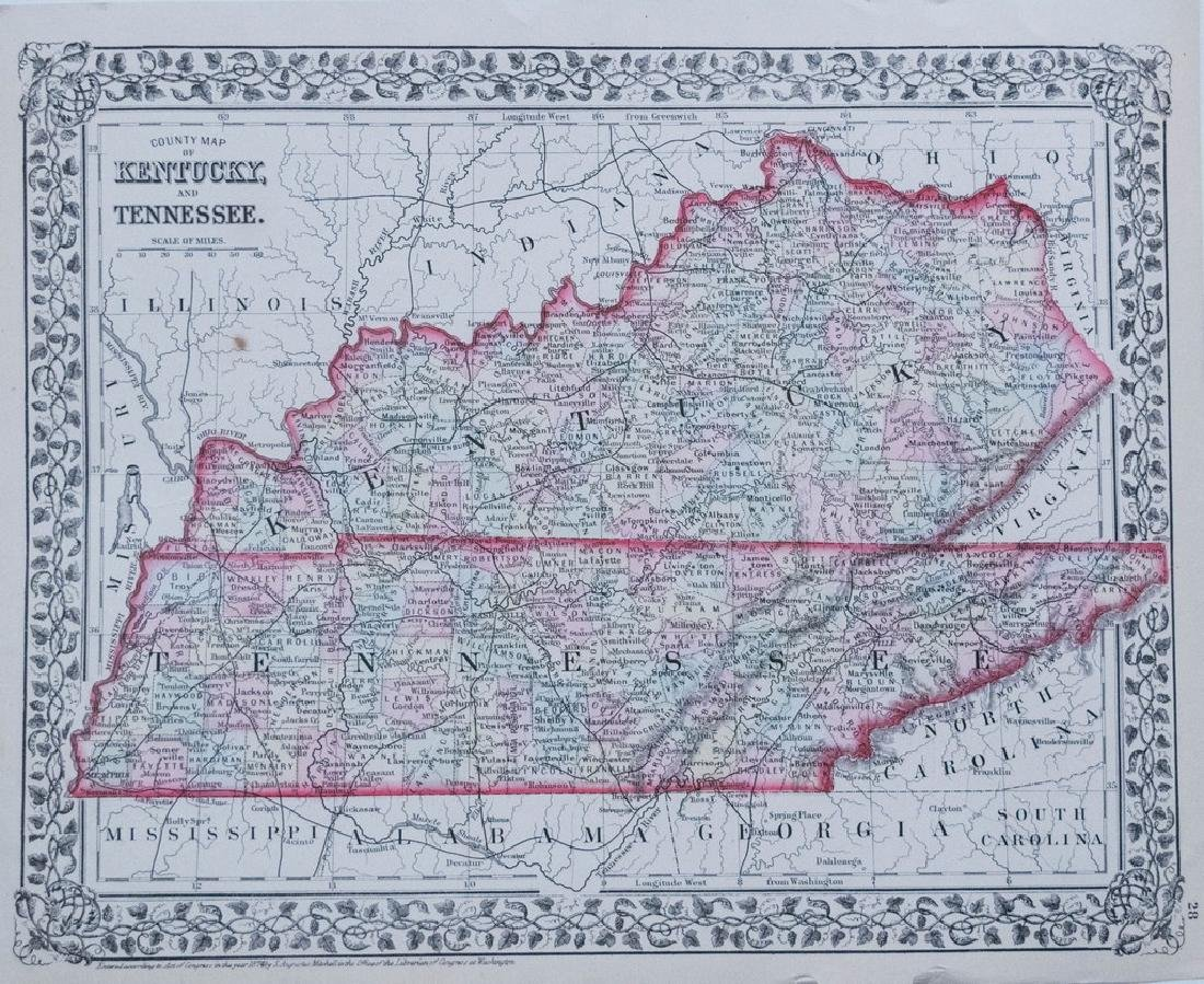 Antique 1874 Mitchell Map of Kentucky and Tennessee