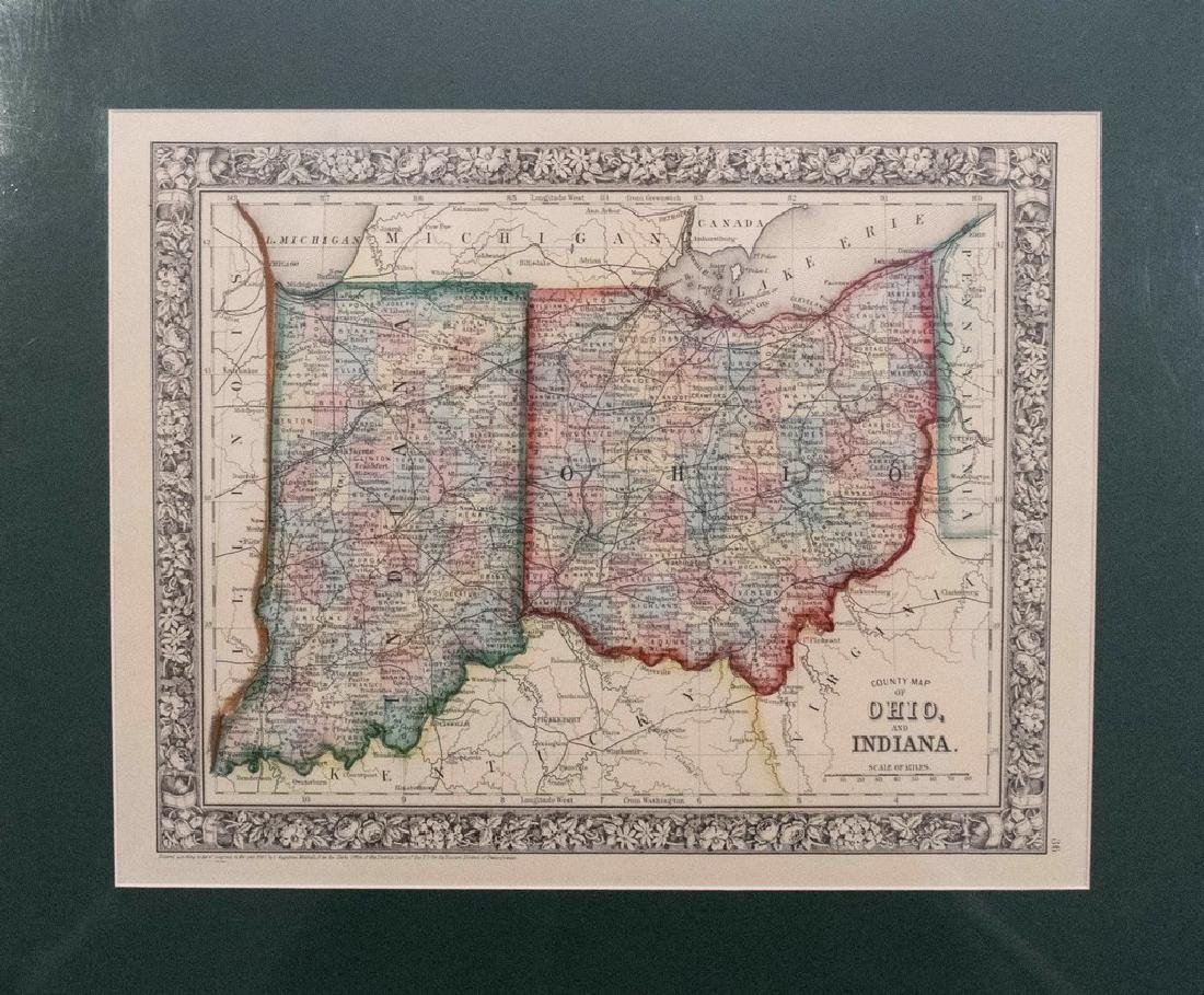 Mitchell: Antique Map of Ohio and Indiana, 1867