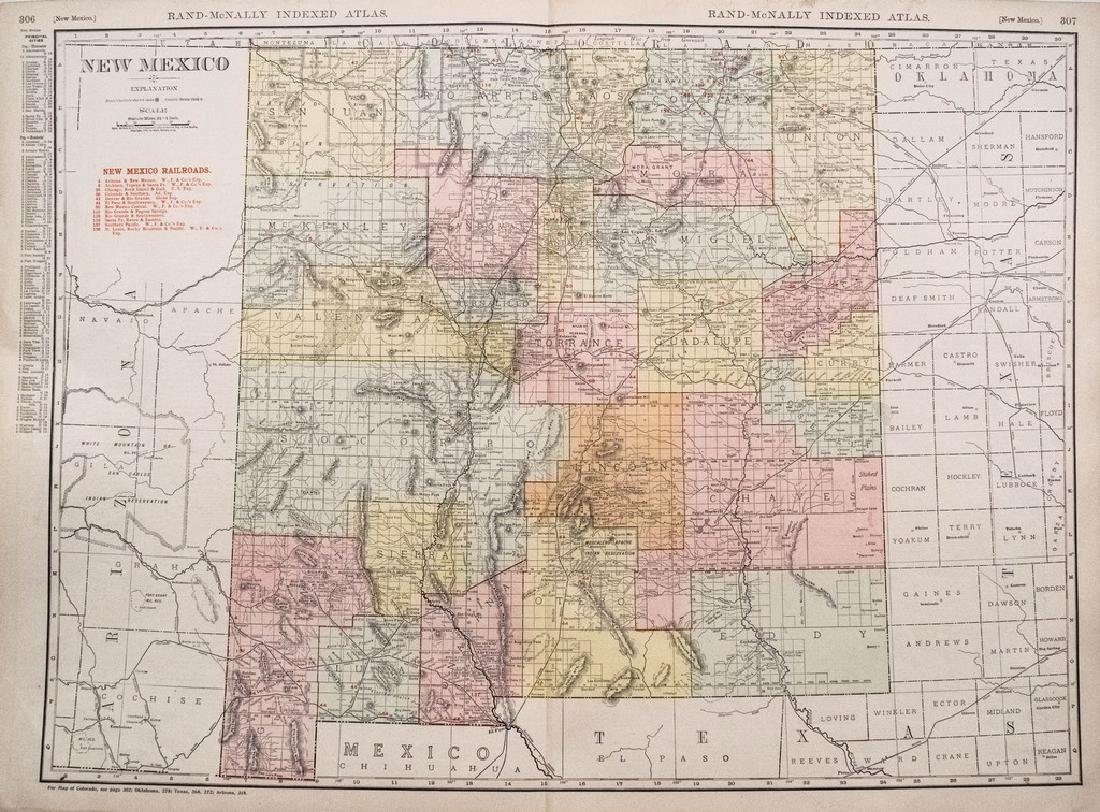 1911 Rand McNally Map of New Mexico