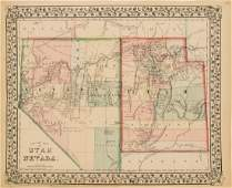Antique 1870 Mitchell Map of Nevada and Utah