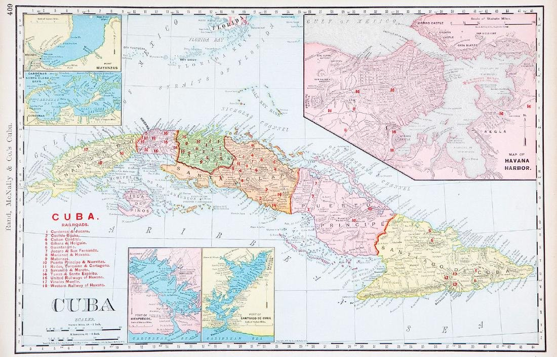 Rand-McNally: Antique Cuba Railroads Map, 1901