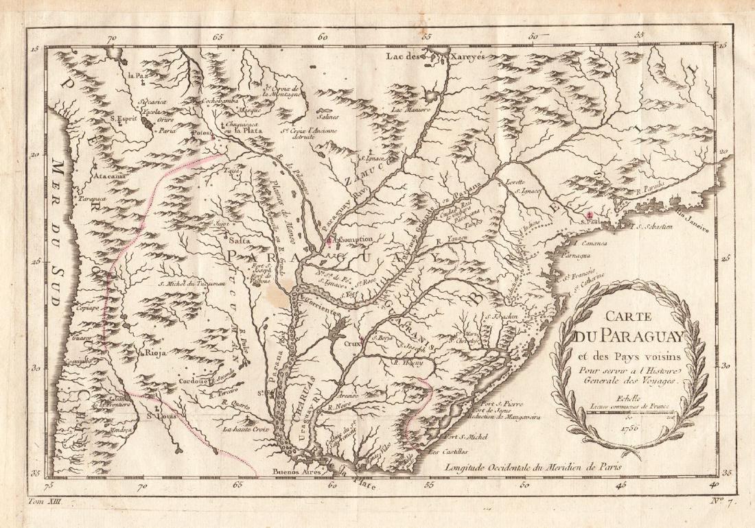 Bellin: Map of Paraguay / Paraná River Basin, 1756