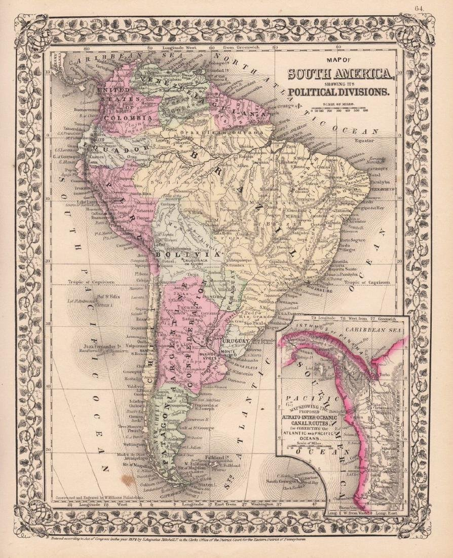 Mitchell: Map of South America with Panama Inset