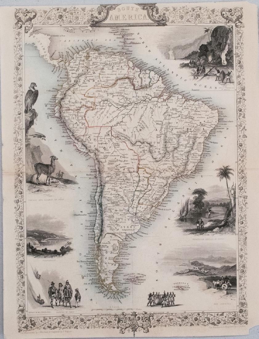 1851 Tallis Map of South America -- South America