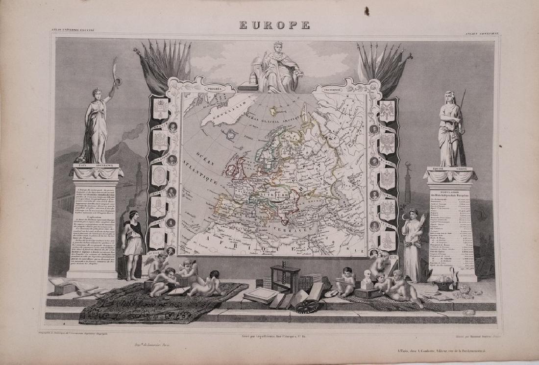 Antique 1852 Levasseur Map of Europe