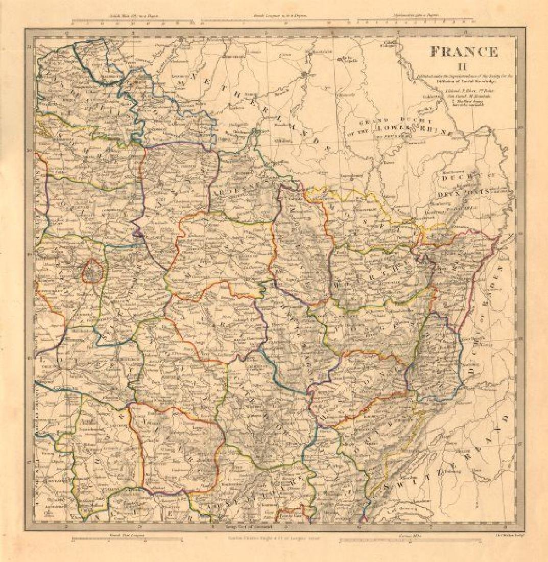 SDUK: Antique Map of Northeast France, 1845