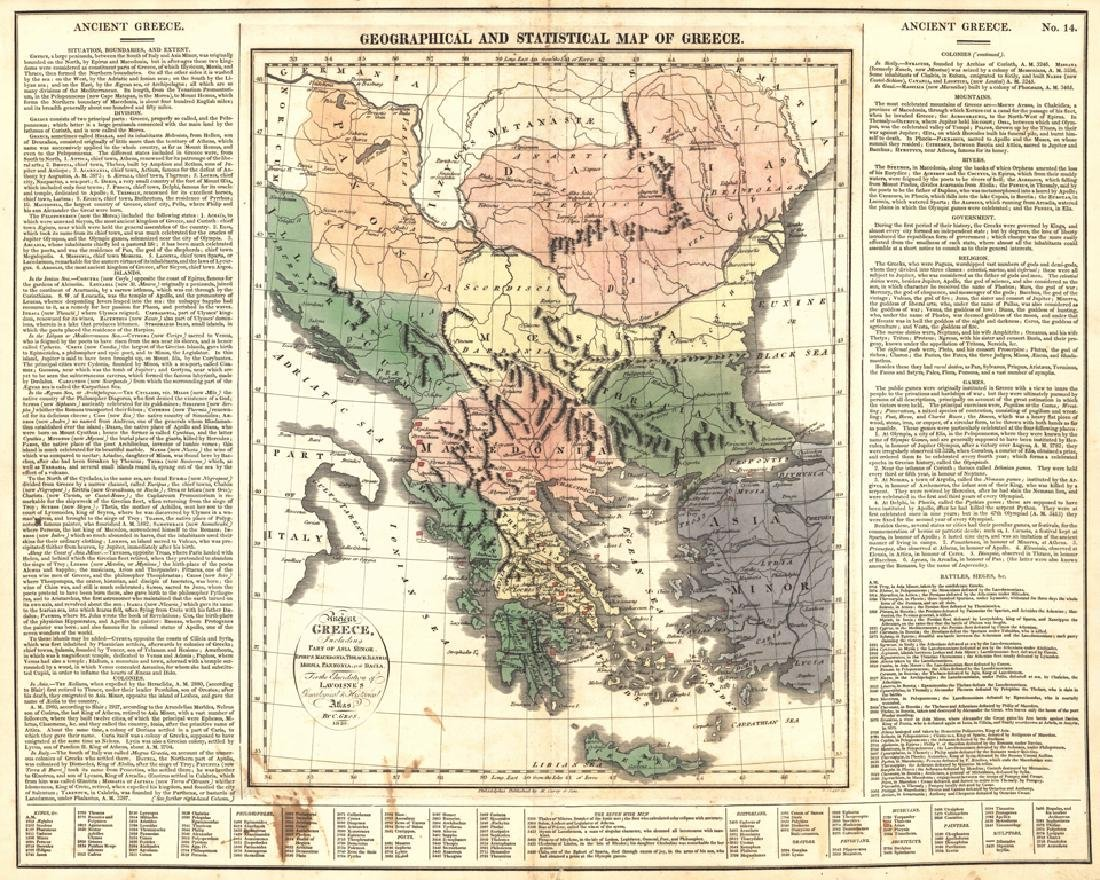 Carey: Antique Map of Ancient Greece, 1820