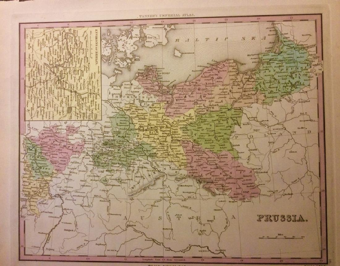 Antique Map of Prussia by Tanner, 1843