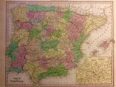Tanner: Antique Map of Spain & Portugal, 1843