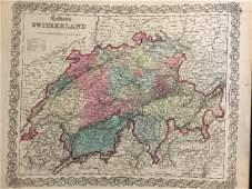 Antique Map of Switzerland by Colton, 1859