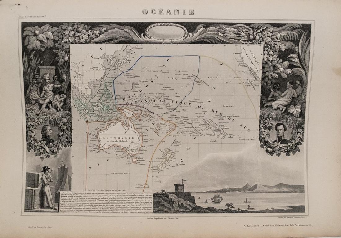 Antique 1852 Levasseur Map of Oceania