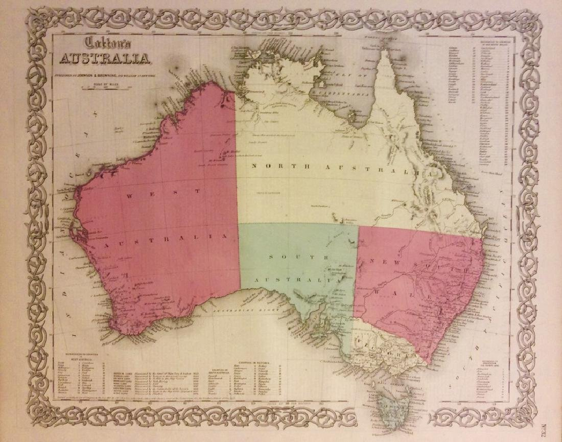 Antique Map of Australia by Colton, 1895