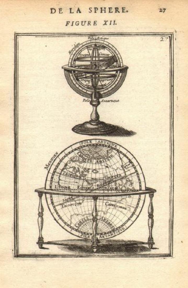 Mallet: Antique Print of Armillary Sphere & Globe, 1683