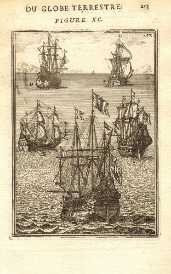 Mallet: Antique View of Ships 'Vaisseaux', 1683