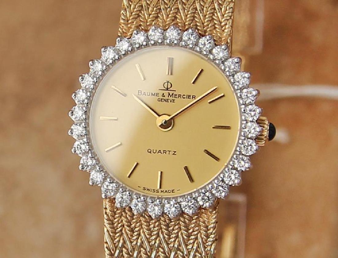 Baume & Mercier Geneve Quartz 14k Gold Diamonds Quartz