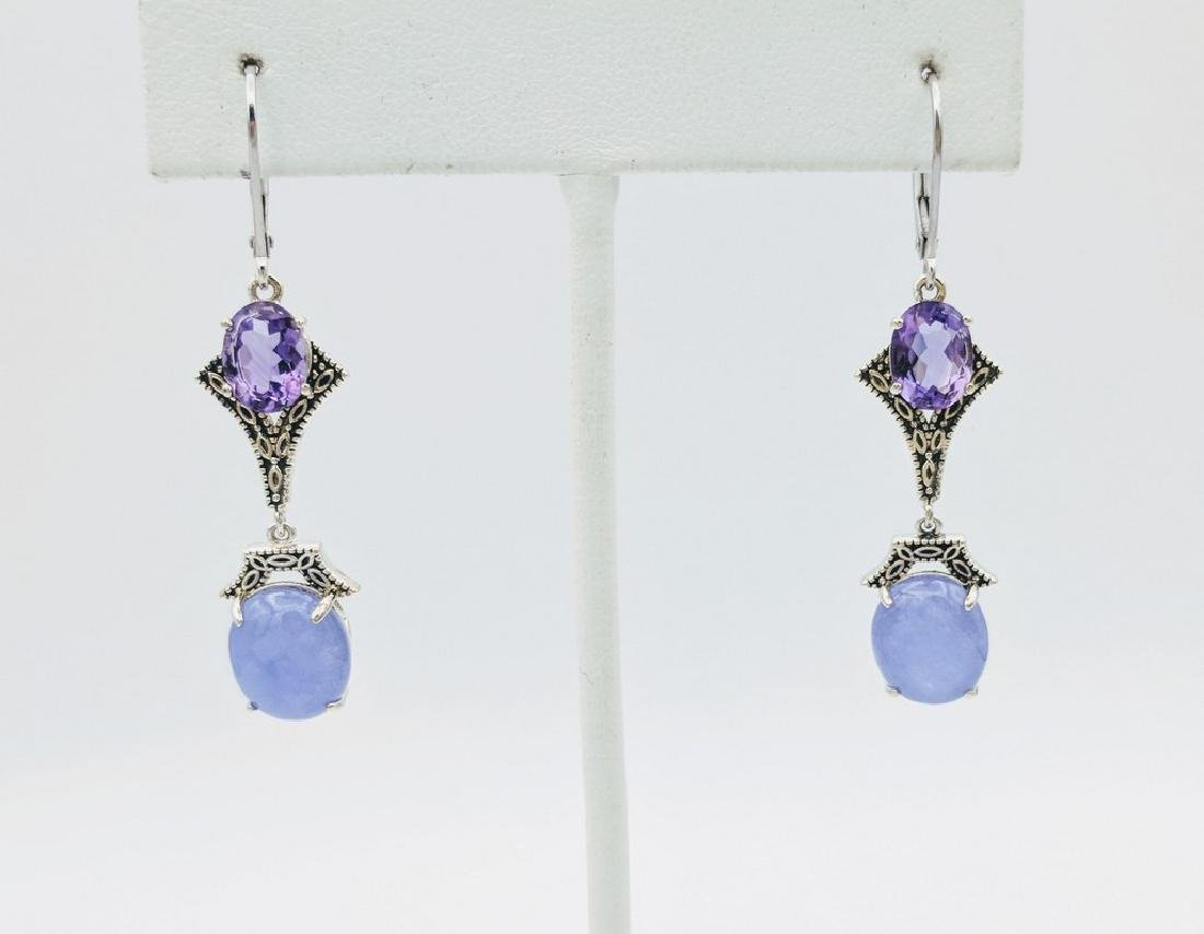 Sterling Silver Violet Jade Amethyst Earrings