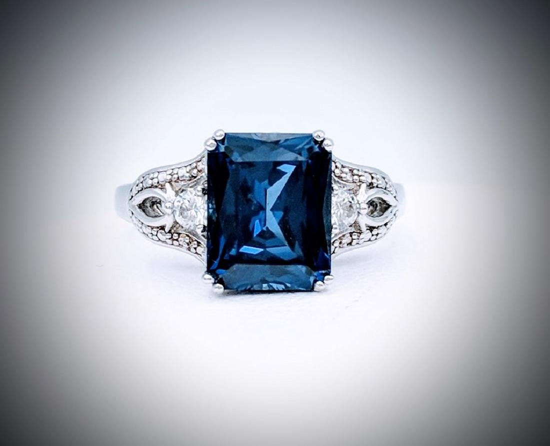 Sterling Silver Blue Sapphire Cubic Zirconia Ring