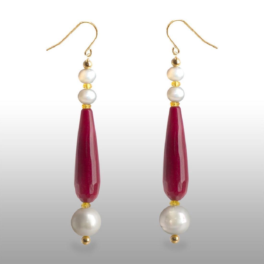 14K Drop Ruby Jade and Songea Sapphire Earrings