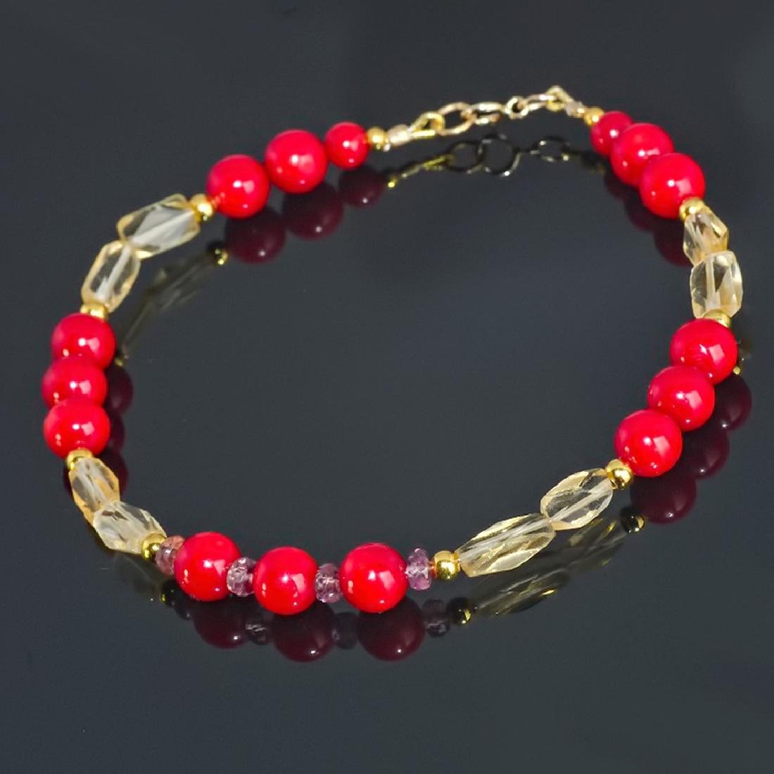 14K Red Coral bracelet with Golden Citrine and Pink