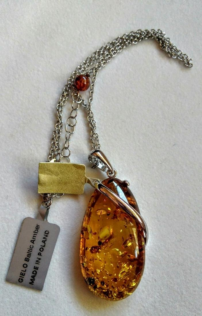 Baltic Amber 20ct Cognac Freeform Pendant