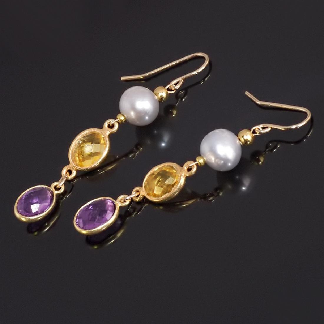 14K Multicolor Earrings with Pearls, Champagne Citrine