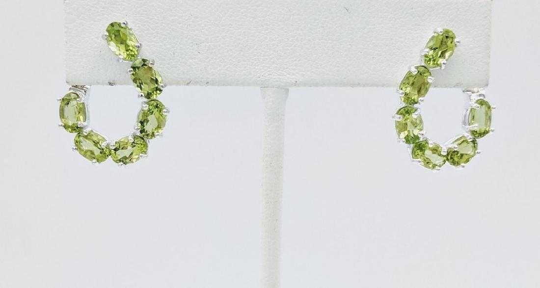 Sterling Silver Peridot Twisted Open Hoop Earrings, 3ct